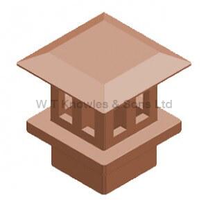 Square Flat Mushroom Insert - Clay Chimney pots