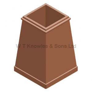 large Square Taper pot - Clay Chimney pots