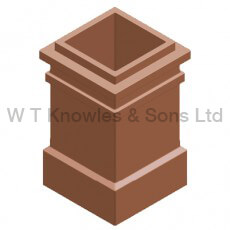 plain Square Pot - 2 Beads - Clay Chimney pots