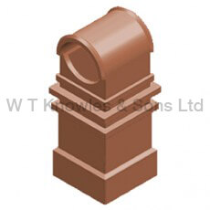 Hooded Square Pot - Clay Chimney pot