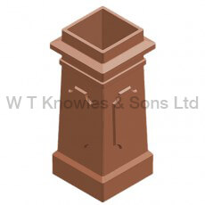 Square Panelled Pot - Clay Chimney pot illustration
