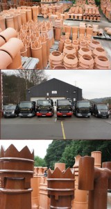 WT Knowles & Sons montage, truck fleet and chimneys