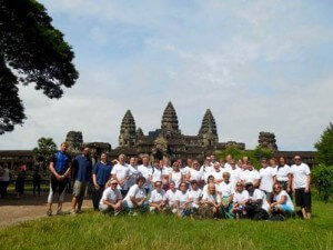 Charity bike ride group photo at Angkor Wat - Cambodia