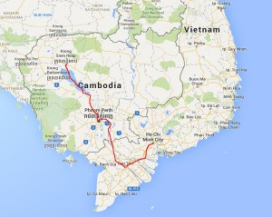 Helen's charity bike ride map, Vietnam and Cambodia